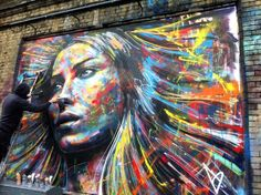 No brushes or stencils, just spray, street art by David Walker in London