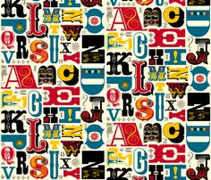 A collage of #woodtype alphabet on custom fabric — what would you make out of it? #typography