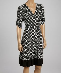 Another great find on #zulily! Black & Ivory Geometric Surplice A-Line Dress - Women by AA Studio #zulilyfinds
