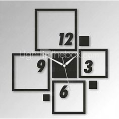 Estilo moderno diy 3d novo acrílico espelho quadrado relógio de parede de 2019660 2016 por R$57,11