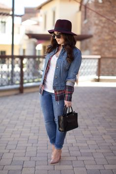 christian louboutin pigalle pumps, jcrew toothpick jeans, gap jean jacket, felt fedora
