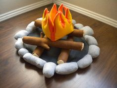 "Felt Campfire plush toy play set. Have an indoors ""campout"""