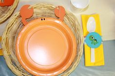 Crab plates for octonauts party. 5th Birthday Party Ideas, First Birthday Parties, 3rd Birthday, Underwater Birthday, Octonauts Party, Bubble Guppies Birthday, Under The Sea Party, Place Setting, Baby