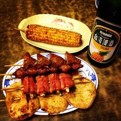 Bar-Be-Q & TAIWAN GOLD MEDAL Beer Pineapple Taste (燒烤+台灣金牌鳳梨啤酒)