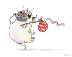 Another InkPug gem - I call him little hobo Pug - running away with his sausages in tow! Pug Illustration, Pug Cartoon, Pet Sympathy Cards, Puppies And Kitties, Doggies, Pugs And Kisses, Pug Art, Cute Pugs, Pug Love