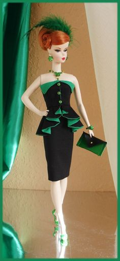 Barbie Cocktail Dress Black and Green