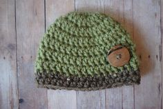 Newborn Hat for Baby Boy  Green and Brown with by ELMCrochet, $17.00