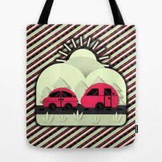 Caravan Holiday, Reusable Tote Bags, Bright