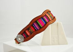 Nazca Peruvian Scalloped Leather Inlay Dog Collar