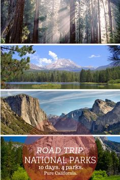 Enjoy all the NATIONAL PARKS in California - Road Trip: Exploring California's Mountain National Parks. 10 days, 4 parks - road trip with kids