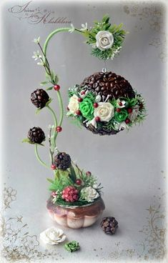 "Photo from album ""топиарий"" on Yandex. Unique Christmas Decorations, Handmade Decorations, Coffee Bean Art, Deco Cafe, Topiary Trees, Coffee Crafts, Egg Decorating, Handmade Home, Flower Crafts"
