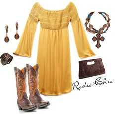 Cowboy boots and dress, Rodeo-Chic