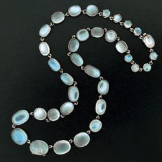 Victorian Sterling Silver & Cabochon Moonstone Necklace c. 1880