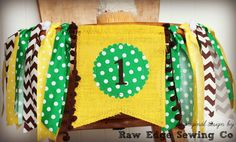 TRACTOR Farmer Birthday High Chair Highchair Banner Party Photo Prop Backdrop Cake Smash Yellow Green Brown Barnyard One First Fabric Bunting Banner, Banners, Birthday Highchair, Burlap Flag, Birthday Party Decorations, Birthday Ideas, High Chair Banner, Jute Twine, Party Photos