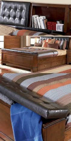 Collage showing the Langley storage Bed by Coaster with hidden storage in headboard and footboard.