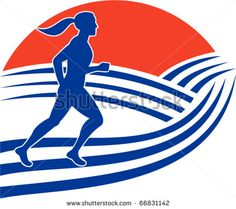 vector illustration of female marathon runner running side view with mountains in background - stock vector #marathon #retro #illustration