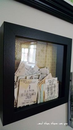 Ticket stub frame - so you can see all the cool things you did. Doing this for the first year of marriage!