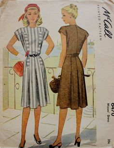 1940s Dress Sewing Pattern /McCall 6470/ Bust 30 Vintage