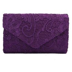Women Satin Lace Bridal Clutch Evening Wedding Bag ($12) ❤ liked on Polyvore featuring bags, handbags, clutches, bridal evening bags, purple handbags, lace purse, lace clutches and satin clutches