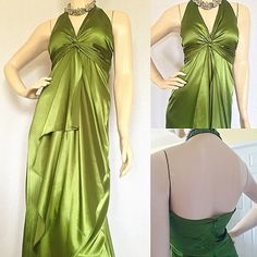 """Gorgeous Green Evening Gown The color of this dress is a stunning shade of green. The ruffles down the middle is very flattering.  Fabric Content: 100% polyester 28""""B x 66"""" L Jump Apparel Dresses Backless"""