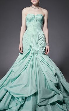 Honeydew Tafetta Gown by Zac Posen for Preorder on Moda Operandi