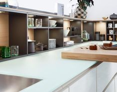 bulthaup b3 kitchen in Alpine White laminate and structured oak ... | {Keramik küchenplatte 29}
