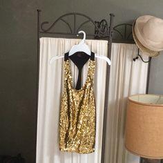 Shirt Party shirt, gold beaded, black racer back Material Girl Tops Crop Tops