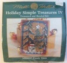 Cross Stitch Mill Hill Beaded Box Kit Holiday Simple Treasure Frosty Trees