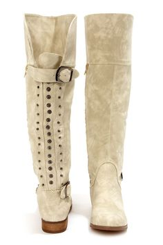 Cream Studded Knee High Riding Boots at LuLus.com!