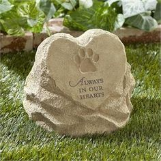 """Our Rock Shaped Urn for Pet Ashes features an embellished heart and the wording: """"Always in Our Hearts"""". This tasteful urn can be displayed in the home or in the garden. Pet ashes are added . Pet Memorial Stones, Dog Memorial, Memorial Ideas, Pet Cemetery, Pet Ashes, Dog Hotel, Pet Urns, Pet Furniture, Animals"""