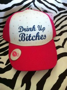 3fce8b6642a Blinged Drink Up on Pink and White with Bottle Cap Opener Under Brim.  25 Hat  Hat Hat
