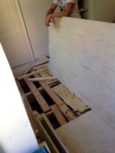 These holes appeared when we removed the laminate floor in the bedroom. Floorbeams were missing...