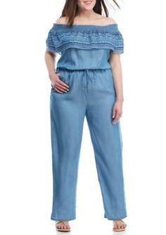 42cbc64d9e262 Crown   Ivy™ Plus Size Chambray Jumpsuit