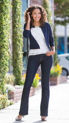 DENIZEN® Jeans Essential Stretch Modern Boot Cut in Limo. A universal style for all body types! Did you know it has won awards as the best jean for plus size, pear shape, and tall body types?