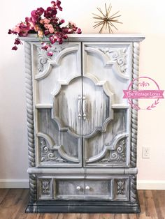 Custom painted armoire showpiece Painting Moving Decor and Organization Grey Furniture, Chalk Paint Furniture, Vintage Furniture, Furniture Decor, Living Room Furniture, Furniture Stores, Rustic Furniture, Living Rooms, Cheap Home Decor