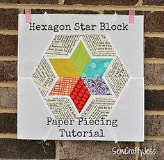 Paper piecing -- PDF here:  https://docs.google.com/file/d/0B8KAE2wk0FQYQ0Yyc091eGxUMm8/edit  Hexagon star block by sewcraftyjess, via Flickr