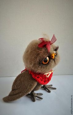 Сова Манечка - бежевый,сова,совушка,птица,смешная сова,валяная сова,сова из шерсти