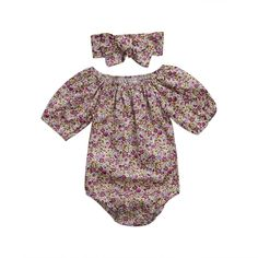 Newborn Kids Baby Girls Clothes Floral Outfits Set Romper with Headband Fall Bodysuit 6~12months Floral *** Click image to review more details. (This is an affiliate link) #BabyGirlClothes