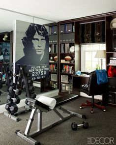 ALL-AMERICAN ALLURE: SANDRA LEE AND ANDREW CUOMO'S HOME:     Shelving by California Closets and a portrait of Jim Morrison by Russell Young in the exercise room; the carpet is from Cornell Carpet & Design.