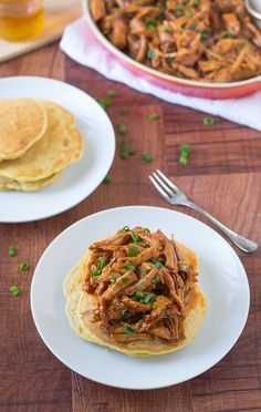 Slow Cooker Honey Pulled Pork Recipe over Cornmeal Pancakes   The Realistic Nutritionist