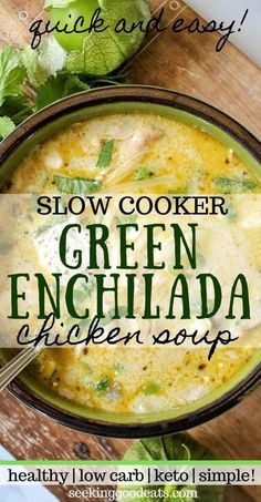 Creamy green enchiladas chicken soup is so tasty and easy to make in the crockpot. Keto slow cooker Mexican soup is the perfect weeknight dinner recipe. Easily adapted Instant Pot recipe so you've got even Mexican Soup Recipes, Best Soup Recipes, Mexican Chicken Soups, Crockpot Chicken Soup Recipes, Easy Healthy Soup Recipes, Chicken Chili, Slow Cooker Mexican Chicken, Chicken Enchilada Soup, Chicken Tacos
