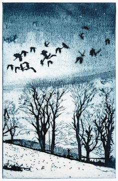 And rooks in families homeward go Collagraph by Suzie Mackenzie Brooklyn Botanical Garden, Collagraph, Wood Engraving, Bird Design, Winter Landscape, Print Artist, Cool Drawings, Illustration Art, Illustrations