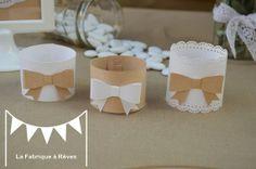 10 rond de serviette mariage baptême craft jute noeud blanc