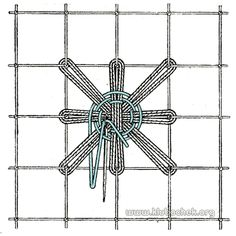 Ромашка с паучком в центре Filets, Diy And Crafts, Embroidery, Sewing, Pendant, Crochet, Lace, Stitches, Colors