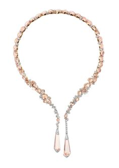 Boucheron Hotel de la Lumière Halo Delilah necklace in white gold, set with morganites and white diamonds.