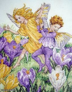 Cross stitch - fairies: Crocus fairy - Cicely Mary Barker (free pattern with chart)