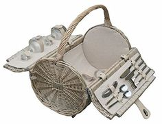 Barrel 2 Person Retro Style Picnic Basket Hamper Size 405 x 280 x 230 Full buff antique wash finish willow cream faux leather stainless steel cutlery Wine Picnic Basket, Vintage Picnic Basket, Picnic Hampers, Picnic Backpack, Stainless Steel Cutlery, Retro Stil, Insulated Lunch Bags, Retro Fashion, Wicker