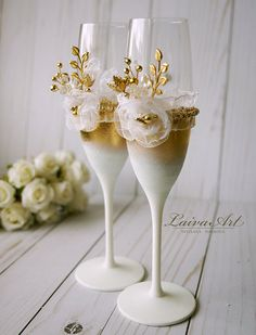 Wedding Champagne Flutes Wedding Champagne Wedding by LaivaArt