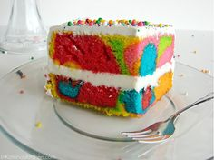 Rainbow Swirl Cake: Use yellow or white cake mix and gel food coloring. After mixing cake mix, divide it into sections, and add dye to each. Add some of each color into pan one at a time, then bake as normal. Yummy Treats, Sweet Treats, Yummy Food, Tasty, Food Cakes, Cupcake Cakes, Party Cupcakes, Rainbow Swirl Cake, Rainbow Cakes