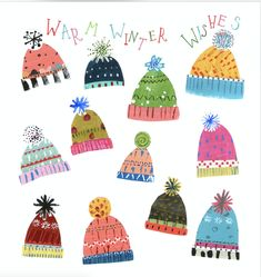 Winter is all about being cosy - and finding that PERFECT hat. Which one would you choose? The Pope Twins sending you warm winter wishes -check out more of there stuff at Advocate Art. Christmas Graphics, Christmas Images, Christmas Art, Christmas Projects, Winter Christmas, Winter Illustration, Christmas Illustration, Xmas Cards, Holiday Cards